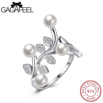 GAGAFEEL Romantic Ring For Female Shell Leaf CZ Zircon Sterling Silver Jewelry Lady Present Party Accessorise Adjustable Design
