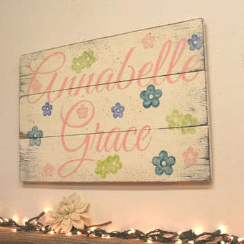 Baby Girl Nursery Decor Shabby Chic Nursery Sign Pallet Sign Personalized Nursery Decor Baby Gift Girls Bedroom Wall Decor Above Crib Sign
