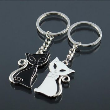 Cute Couple Cat Keychain for Lovers