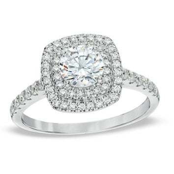 1-1/4 CT. T.W. Diamond Square Double Frame Engagement Ring in 14K White Gold