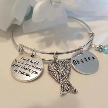 Remembrance Necklace Memorial Necklace Forever in My Heart Infant loss Necklace Angel Wing Necklace Angel Wing Charm Remembrance Jewelry