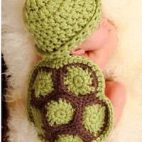 1set Siamese Turtle Green Handmade Knitted Newborn New Born Infant Child Knitting Clothing Clothes Baby Set Warmer