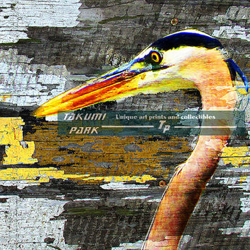 Blue Heron Art Print, Bird Decor, Animal Art Print, Nature Wall Decor, Modern Wildlife Artwork, Bedroom Art, Living Room Wall Decor, Den Art