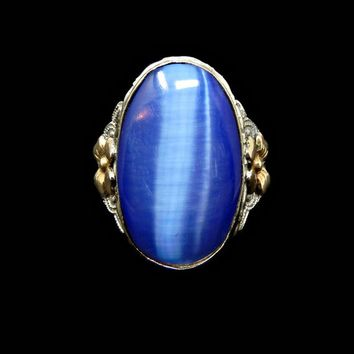 Art Deco Sterling Silver and 10K GF Ring Signed Clark and Coombs Blue Cats Eye Size 6.75