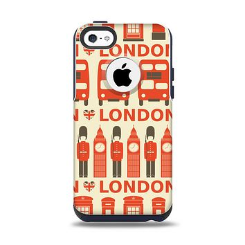 The Vector Tan and Red London Apple iPhone 5c Otterbox Commuter Case Skin Set