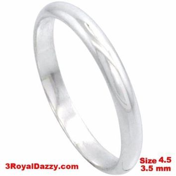 Italy Anti tarnish 925 silver high polish plain wedding band ring 3.5mm Size 4.5