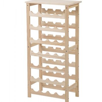28 Bottles Holder Solid Wood Wine Rack 7 Tier Storage Display Shelves 28B