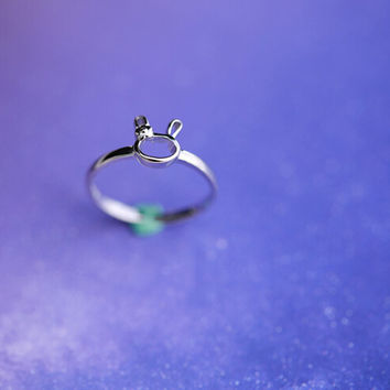925 sterling silver rabbit opening ring,cute rabbit ring,simple silver ring,a dainty gift
