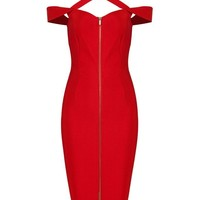 Honey Couture NATALIA Red Open Shoulder Cross Over Midi Bandage Dress