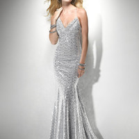 Silver Sequin Draping Open Back Prom Dress - Unique Vintage - Prom dresses, retro dresses, retro swimsuits.