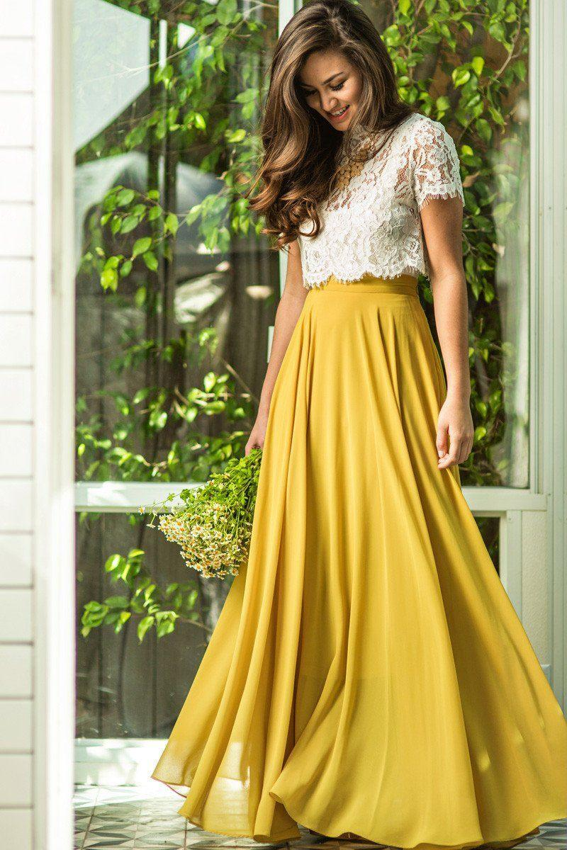 af05c26062 Amelia Full Yellow Maxi Skirt from Morning Lavender | Skirts
