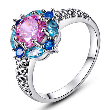 JROSE Flower Cluster Sapphire Jewelry Rings for Women 18K White Gold Wedding Ring set Pink & London Blue Topaz