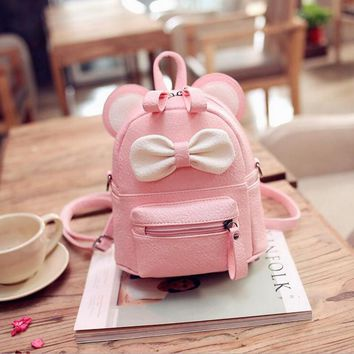 Korean Cartoon Small Mouse Bowknot  Leather Backpacks Women's Messenger Shoulder Bags Childen Small School Bags Mochila Escolar