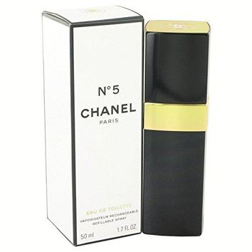 Chänel No. 5 Perfûme For Women 1.7 oz Eau De Toilette Spray Refillable +FREE VIAL SAMPLE COLOGNE