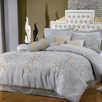 Silver LInen Oversized Comforter Set/Bedding set
