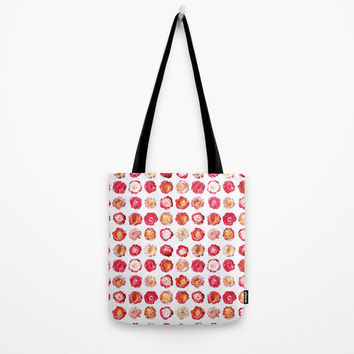 """Pink Peony Tote Bag - choice of size 13"""", 16"""" or 18"""" square tote bag with bright pink flower pattern"""