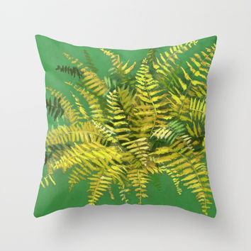 Golden Fern, floral art, green and yellow Throw Pillow by Clipso-Callipso