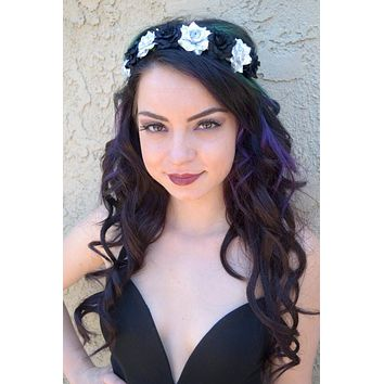 Silver & Black Rose Headband #C1034