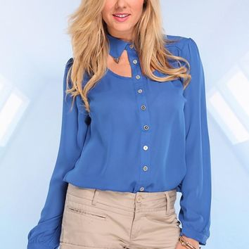 Blue Button Up Long Sleeve Chiffon Top with Cutout Neckline