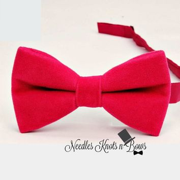Red Velvet Bow Tie, Valentines Day, Christmas, Mens, Boys Bow Ties