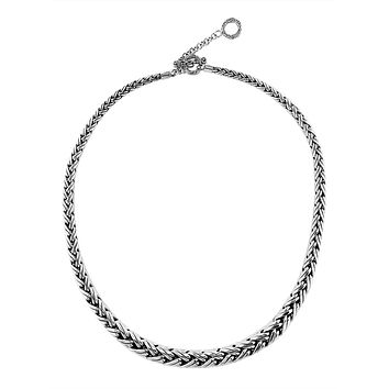 """AN-6273-S-18"""" Sterling Silver Bali Hand Crafted Chain 8MM Graduated Necklace"""