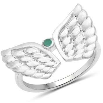 LoveHuang 0.03 Carats Genuine Emerald Angel Ring Solid .925 Sterling Silver With Rhodium Plating, Matte Finish