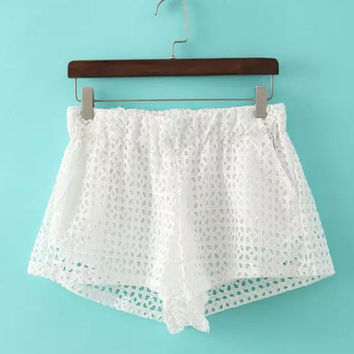 White Mini Sheer Lace Shorts with Elastic Waist