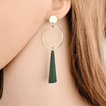 Triangle wood long earrings sexy geometric jewelry earrings pendant female