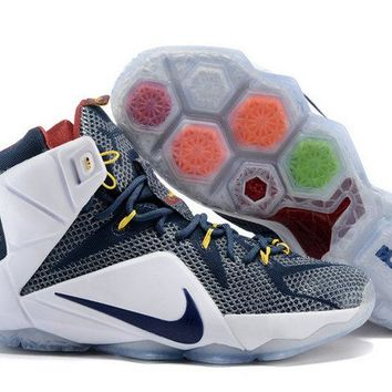 Discount Lebron 12 White Midnight Navy Silver Assist Record New PE Brand sneaker