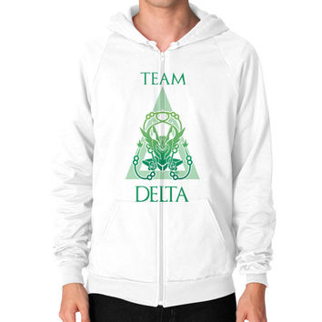 Team Delta Zip Hoodie (on man)