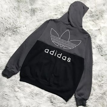 Adidas New fashion embroidery letter couple contrast color hooded long sleeve coat cardigan