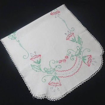 1960s Vintage Hand Embroidered Dresser Scarf, Doily for Home Decor, Lilies with Hand Crochet Lace Trim, Hand Embroidered Vintage Linens