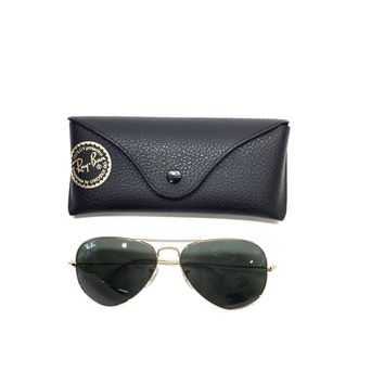 RAY-BAN Goldtone Metal Frame Dark Green-Tinted Lenses Large Aviator Sunglasses