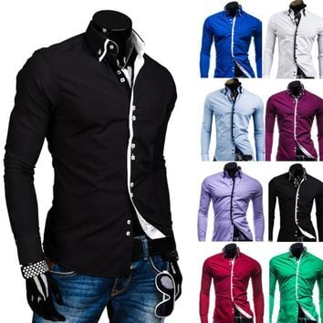 Men's Long-Sleeved Double Collar Button Down Unique Designed Slim Fit Casual Shirt