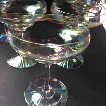 Iridescent Crystal Cocktail Glasses, Set of 5 Vintage Crystal Martini Glasses, Crystal Stemware