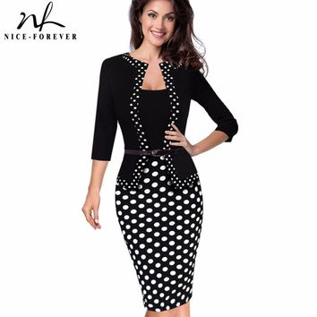 Nice-forever One-piece Faux Jacket Retro Contrast Polka Wear to Work Business vestidos Office Bodycon Women Sheath Dress B407Y1882302