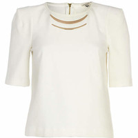 Cream metal plate detail half sleeve top