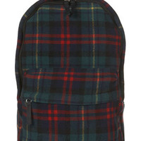Navy Wool Mix Plaid Rucksack