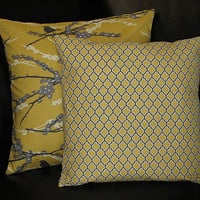 """Decorative Pillows Grey and Yellow Sparrows & Lattice Accent Pillows 16 inch set of TWO Pillow COVERS 16"""" Joel Dewberry Aviary 2"""