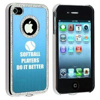 Apple iPhone 4 4S 4G Light Blue S1925 Rhinestone Crystal Bling Aluminum Plated Hard Case Cover Softball Players Do It Better: Cell Phones & Accessories