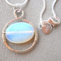 Opal Wrapped Silver Wire Pendant Necklace