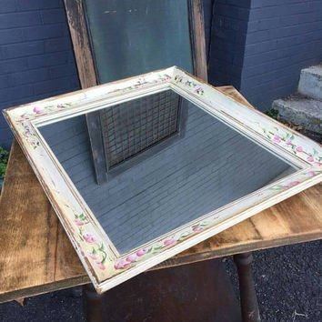 Shabby Chic handpainted  Wood Framed Wall Mirror