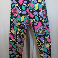 Vintage Rad 80s MULTICOLOR GEOPRINT Womens Epix LEGGING