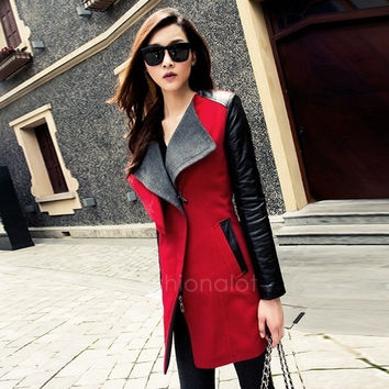 Fashion Women's Long Warm PU Leather Sleeve Jacket Zipper Coat Parka Trench Windbreaker	 FT = 1929601412