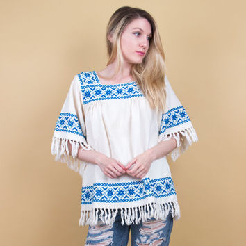 70's embroidered fringe tunic blouse / mexican peasant top / oaxaca tribal blouse / Vintage 70s boho bohemian bell sleeve white blue