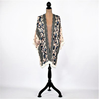 Floral Duster Hippie Boho Cardigan Bohemian Kimono Robe Cover Up Rayon Loose Fitting Light Jacket Hippie Clothes Lace Trim Womens Clothing