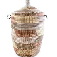 Large African Basket with Lid - Earth Tone
