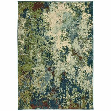 Dawson Blue Green Abstract Distressed Casual Rug