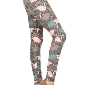 Women's Pink Flamingo Leggings Pink/Teal/Gray:  OS/PLUS