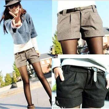 VONG2W 2015 autumn and winter women's turn-up straight woolen bootcut short pants plus large big size casual shorts black grey